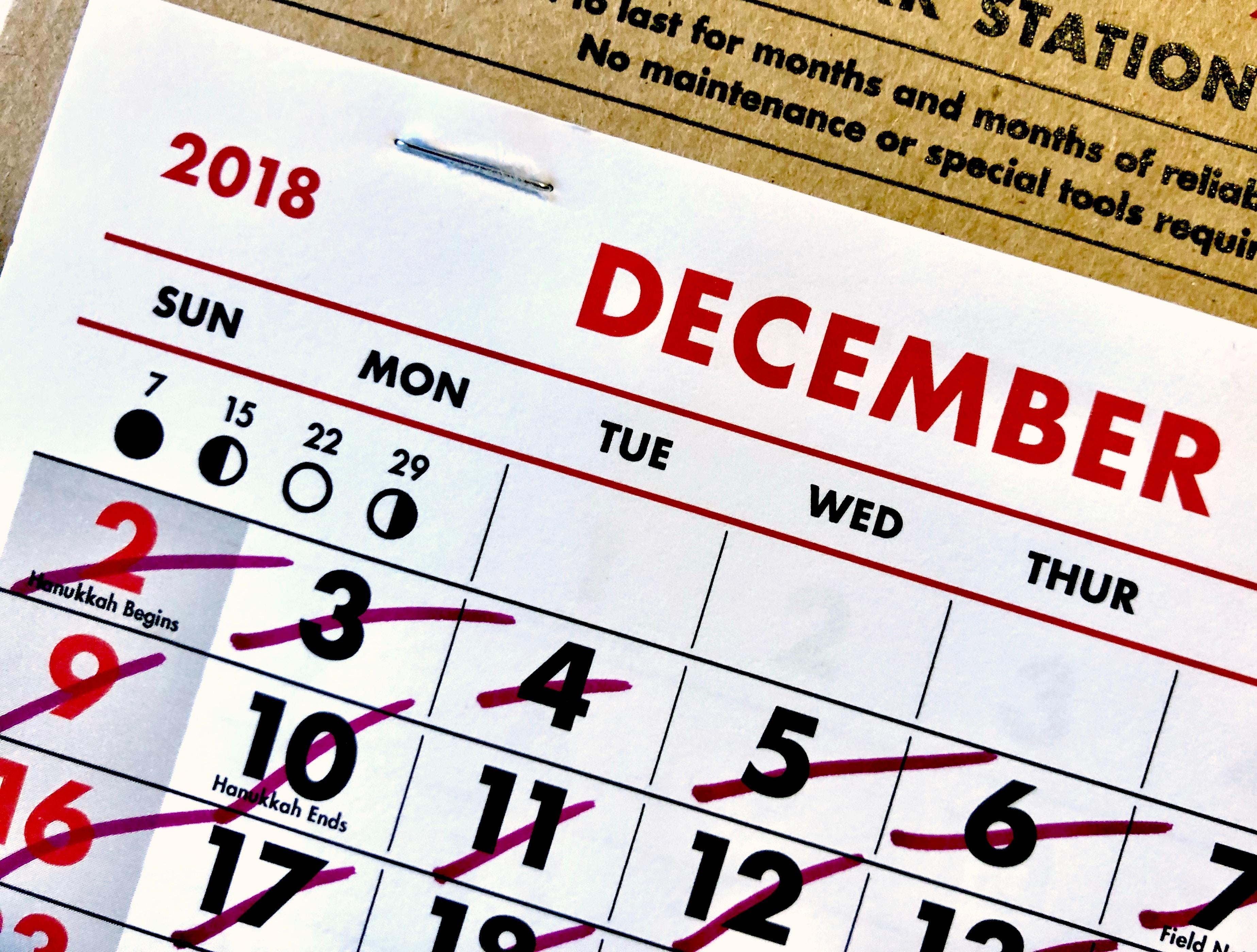 Calendario Dicembre
