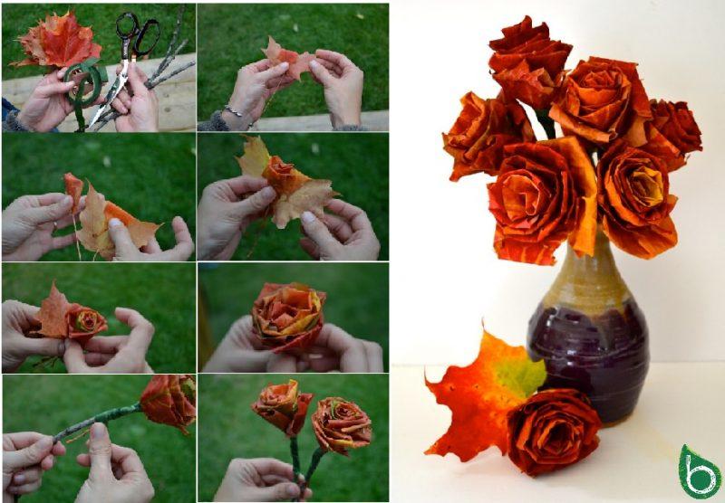 vaso con fiori fatti con le foglie